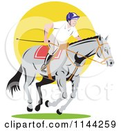 Clipart Of An Equestrian On A Horse Over Yellow Circle Royalty Free Vector Illustration