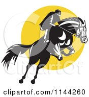 Clipart Of A Retro Equestrian On A Leaping Horse Over A Yellow Circle Royalty Free Vector Illustration