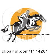 Clipart Of A Retro Equestrian On A Leaping Horse Over An Orange Circle 1 Royalty Free Vector Illustration