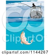 Clipart Of A Fish Biting A Lure Under A Boat Royalty Free Vector Illustration