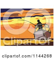 Silhouetted Fisherman On A Boat Against An Orange Sunset