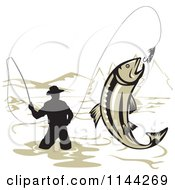 Clipart Of A Wading Fisherman And Leaping Trout Royalty Free Vector Illustration