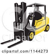 Clipart Of A Retro Silhouetted Forklift Operator Royalty Free Vector Illustration by patrimonio