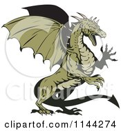 Clipart Of A Retro Green Aggressive Dragon Royalty Free Vector Illustration