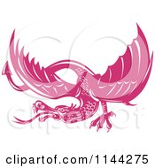 Clipart Of A Retro Pink Dragon Royalty Free Vector Illustration