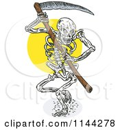 Clipart Of A Skeleton Grim Reaper With A Scythe Royalty Free Vector Illustration by patrimonio