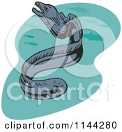 Clipart Of A Moray Eel And Fish Royalty Free Vector Illustration