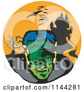 Clipart Of A Retro Frankenstein Bats And Haunted Mansion Royalty Free Vector Illustration
