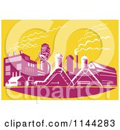 Clipart Of A Retro Factory Plant Building Over Yellow Royalty Free Vector Illustration by patrimonio