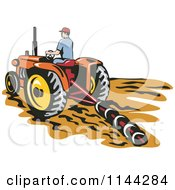Clipart Of A Retro Farmer Tilling A Field With A Tractor Royalty Free Vector Illustration