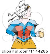 Clipart Of A Retro Victorian Beer Maiden Royalty Free Vector Illustration