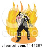 Clipart Of A Fireman Rescuing A Woman Royalty Free Vector Illustration