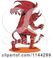 Clipart Of A Retro Aggressive Demon Or Devil Royalty Free Vector Illustration