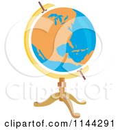 Retro Orange And Blue Globe On A Stand