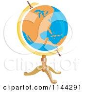 Retro Orange And Blue Globe On A Stand