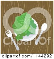 Clipart Of A Plate Of Greens On A Wooden Table Royalty Free Vector Illustration by patrimonio