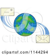 Clipart Of A Globe With Email Envelopes Royalty Free Vector Illustration