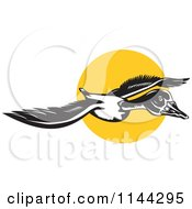 Clipart Of A Retro Flying Goose And Sun Royalty Free Vector Illustration