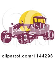 Clipart Of A Retro Grader Machine And Yellow Circle Royalty Free Vector Illustration