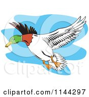 Clipart Of A Retro Flying Mallard Duck Royalty Free Vector Illustration