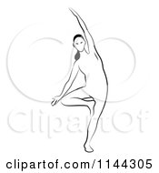 Clipart Of A Black And White Line Drawing Of A Woman Doing Yoga 9 Royalty Free Vector Illustration