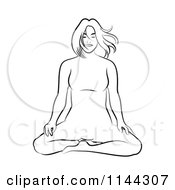 Clipart Of A Black And White Line Drawing Of A Woman Doing Yoga 1 Royalty Free Vector Illustration by Frisko