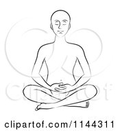 Clipart Of A Black And White Line Drawing Of A Man Meditating With His Hands In His Lap Royalty Free Vector Illustration