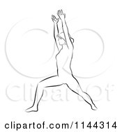Clipart Of A Black And White Line Drawing Of A Woman Doing Yoga 5 Royalty Free Vector Illustration