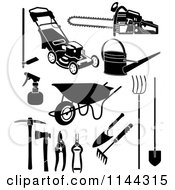 Clipart Of Black And White Garden And Landscaping Tools Royalty Free Vector Illustration by Frisko
