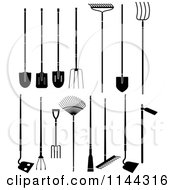 Clipart Of Black And White Large Garden Tools Royalty Free Vector Illustration