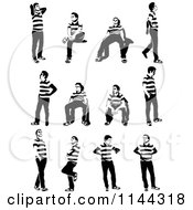 Clipart Of Black And White Young Men Waiting Royalty Free Vector Illustration
