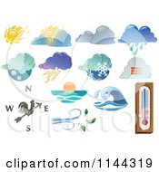 Clipart Of Extreme Weather Icons Royalty Free Vector Illustration