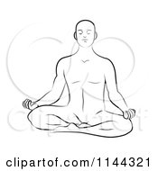 Clipart Of A Black And White Line Drawing Of A Man Meditating In The Lotus Pose 1 Royalty Free Vector Illustration