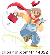 Cartoon Of A Super Handyman Running With A Tool Box Royalty Free Vector Clipart