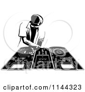 Clipart Of A Black And White Disk Jocky Deejay Man Mixing Records Royalty Free Vector Illustration by Frisko #COLLC1144323-0114
