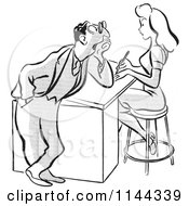 Cartoon Of A Black And White Flirty Businessman Staring At A Beautiful Colleague Royalty Free Vector Clipart