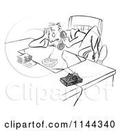 Cartoon Of A Black And White Stressed Man Talking On A Phone At A Desk With A Burning Cigarette In An Ash Tray Royalty Free Vector Clipart by Picsburg #COLLC1144340-0181
