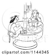 Cartoon Of Black And White Worker Women Soaking Their Feet In A Hot Water Bin Royalty Free Vector Clipart
