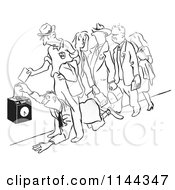 Cartoon Of A Black And White Man Crawling Under His Coworkers To Get To The Time Clock First Royalty Free Vector Clipart