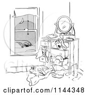 Cartoon Of A Black And White Man Franticaly Searching His Dresser As His Car Pool Ride Waits Royalty Free Vector Clipart