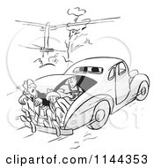 Cartoon Of Black And White Car Pool Passengers Riding In The Trunk Royalty Free Vector Clipart