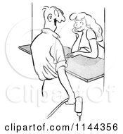 Cartoon Of A Black And White Male Worker Flirting With A Woman At A Counter Royalty Free Vector Clipart