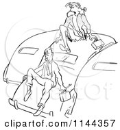 Cartoon Of A Black And White Angry Woman Yelling At A Man For Parking Too Close To Other Cars And Climbing Out From The Roof Royalty Free Vector Clipart