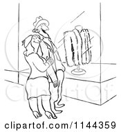 Cartoon Of A Black And White Proud Husband Window Shopping For Furs With His Wife Royalty Free Vector Clipart