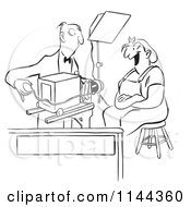 Cartoon Of A Black And White Photographer Adjusting His Camera For A Worker Womans Photo Royalty Free Vector Clipart
