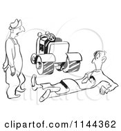Cartoon Of A Black And White Man Squished By A Road Roller Royalty Free Vector Clipart