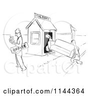 Cartoon Of A Black And White Real Estate Agent Couting Cash After Selling His Office To Clients Royalty Free Vector Clipart
