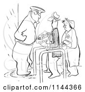 Black And White Security Guard Inspecting Worker Lunch Boxes
