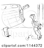 Cartoon Of A Black And White Female Airplane Factory Worker Scaring Her Bos While Peeking Out Of A Hole Royalty Free Vector Clipart