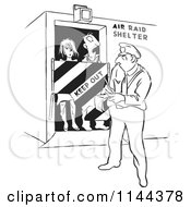 Cartoon Of A Black And White Officer Issuing A Ticket For Tresspassing People In An Air Raid Shelter Royalty Free Vector Clipart